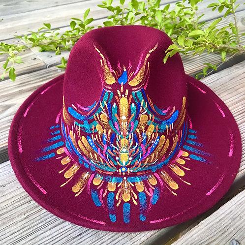 Burgundy wine hand~painted Fedora Hat