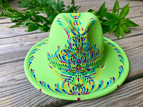 Lime Green hand~painted Fedora