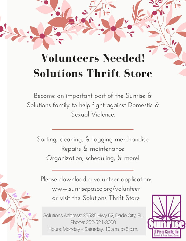 Volunteers Needed for Thrift Store