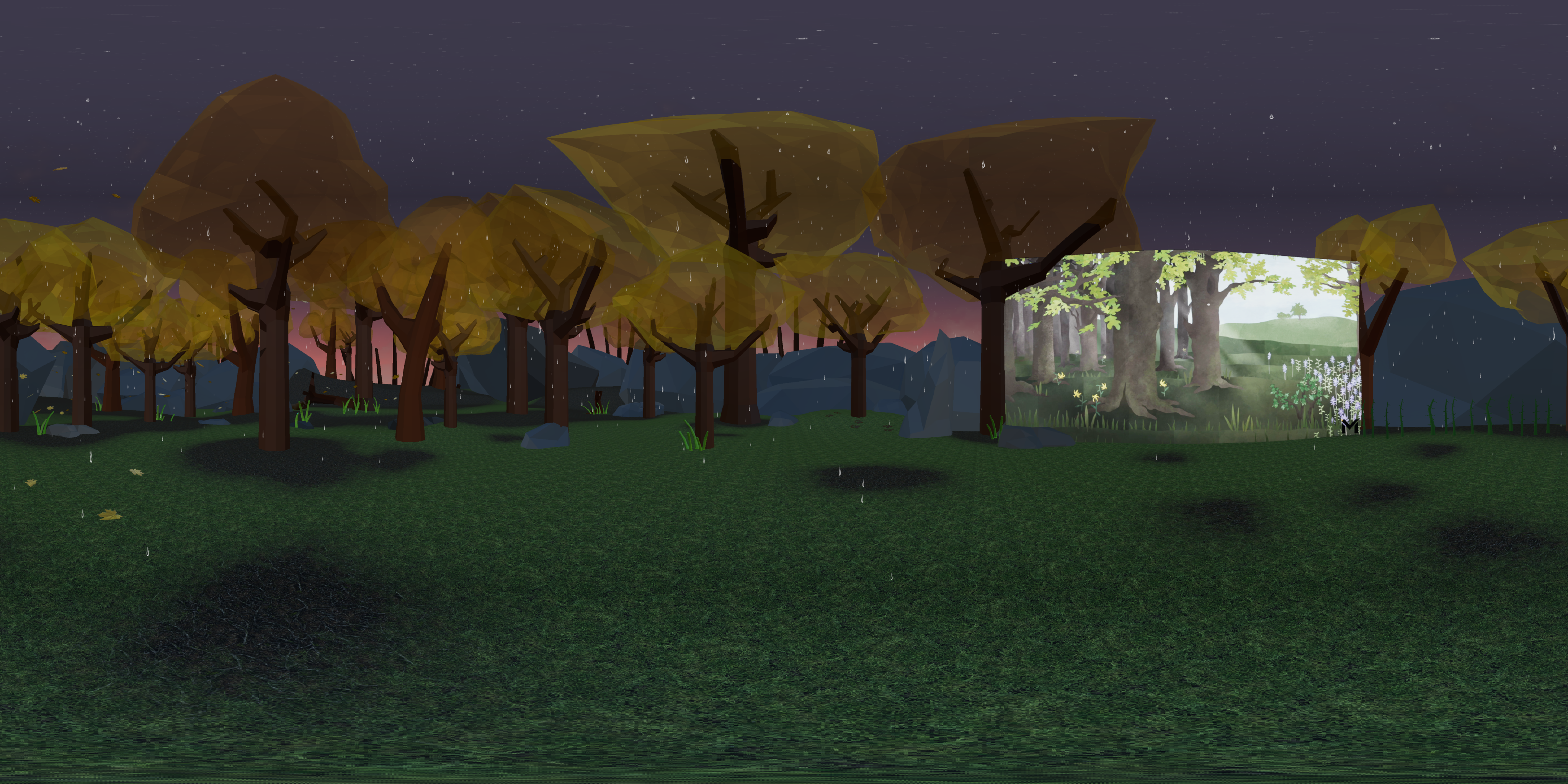 The virtual reality forest in Autumn