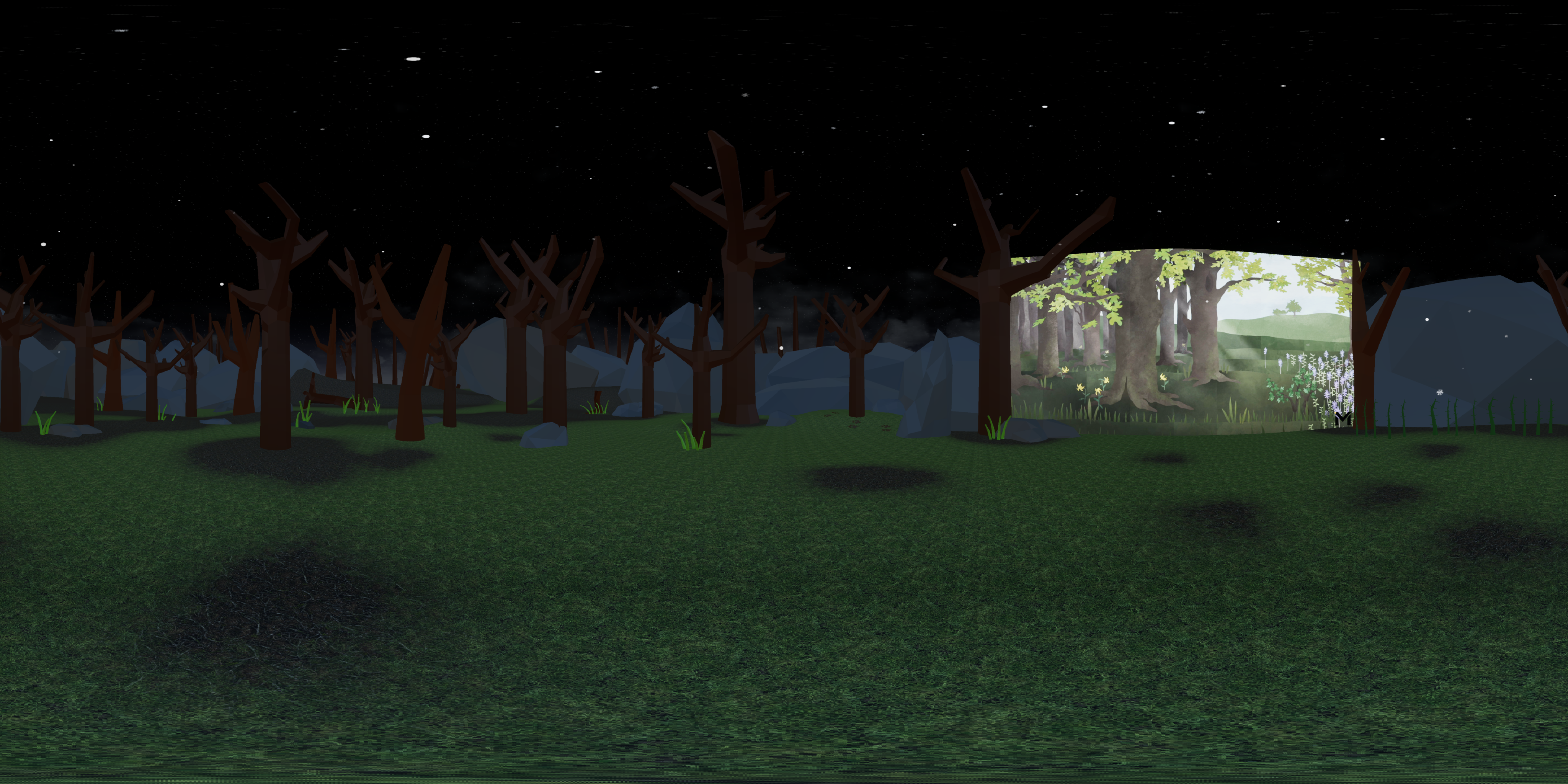 The virtual reality forest at night