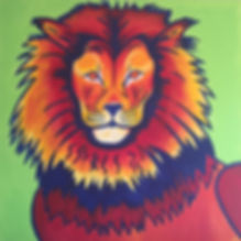 art, painting, lion