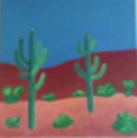 art, painting, desert, nature, saguaro cactus