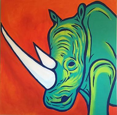 art, painting, rhino