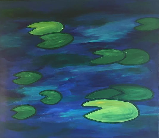 art, painting, water, lily pads