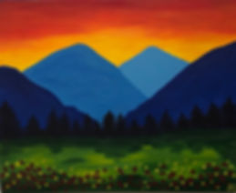 art, painting, blue mountains