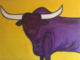 art, painting, bull