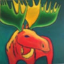 art, painting, moose