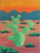 art, painting, desert, nature, prickly pear cactu