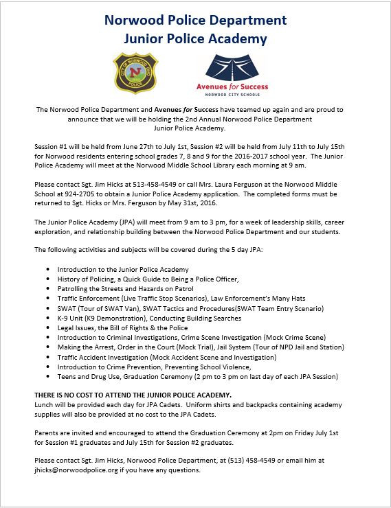 Norwood PD Junior Police Academy is BACK!!!