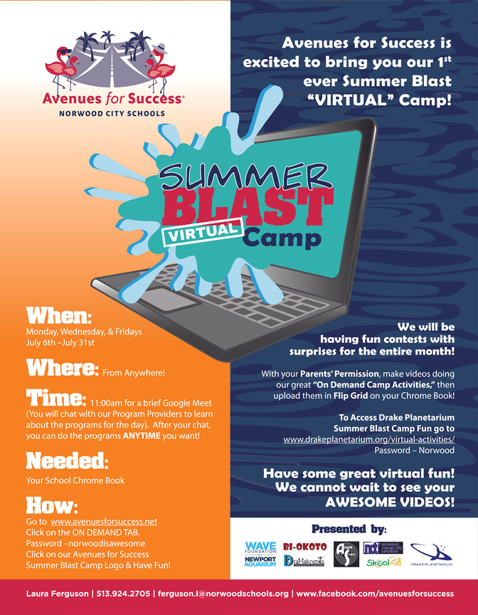 "Join us for our Summer Blast ""Virtual"" Camp!"