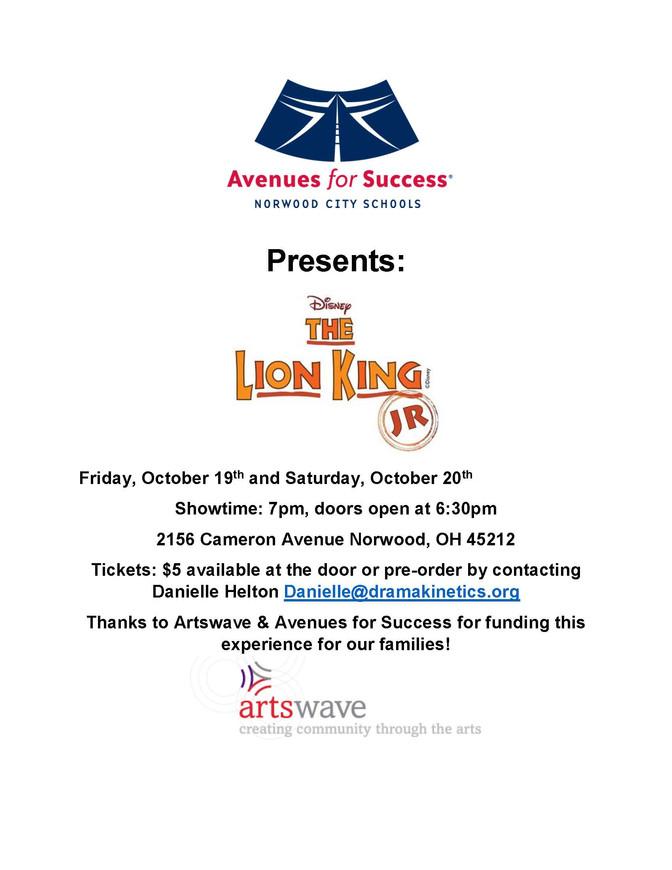 Avenues for Success® Presents... The Lion King Jr.