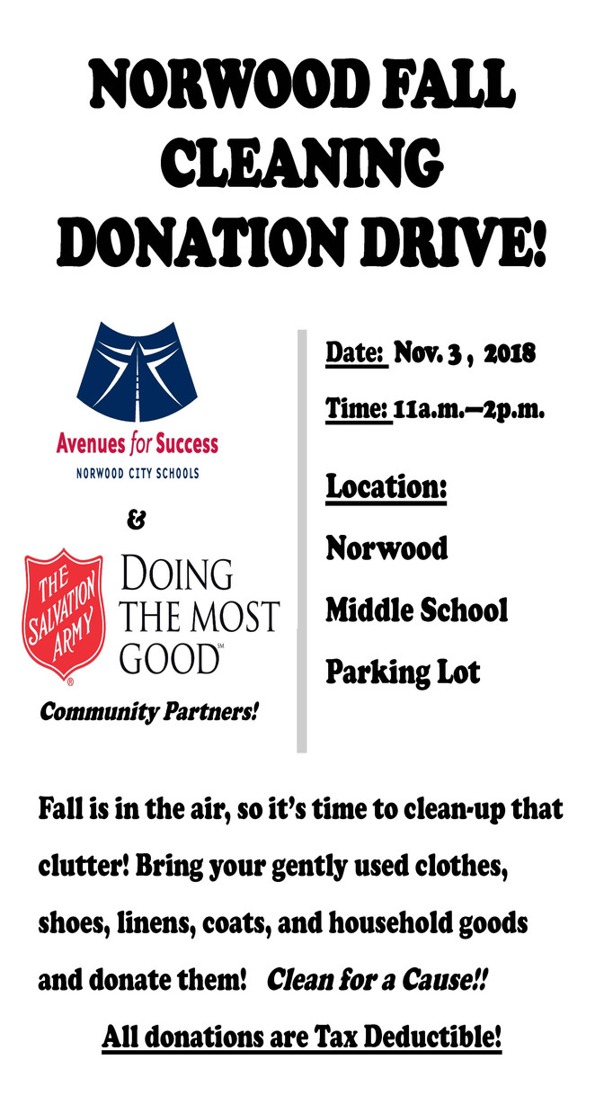 Norwood Fall Cleaning Donation Drive!