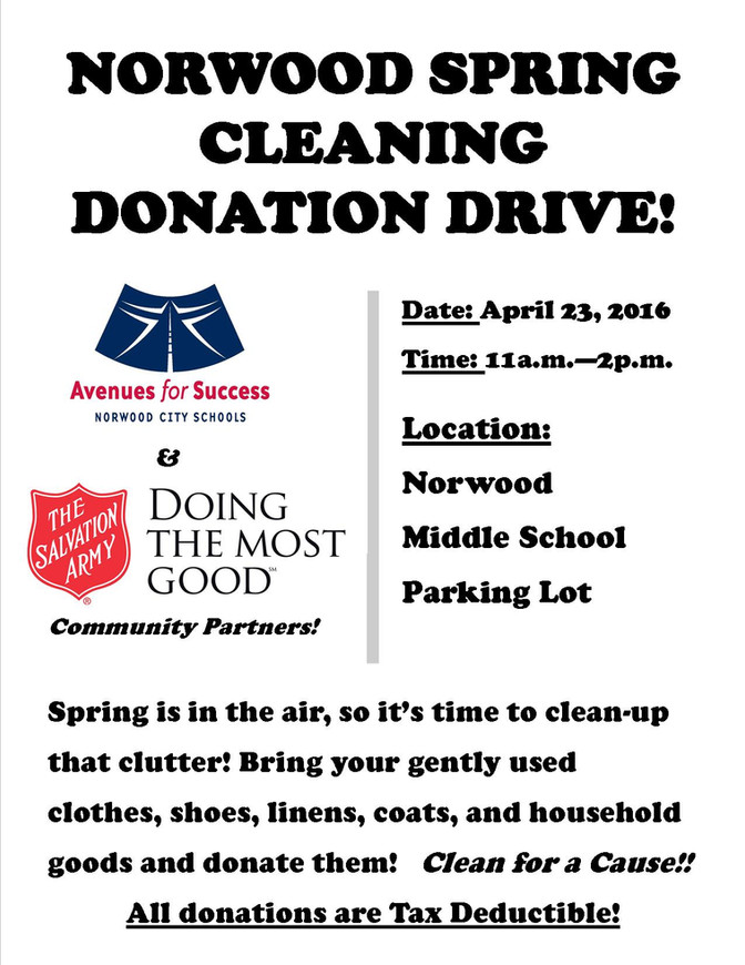 Norwood Spring Cleaning Donation Drive