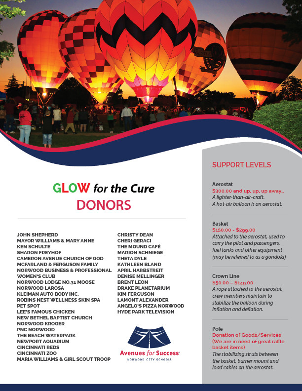 Avenues for Success® Glow for the Cure Donors
