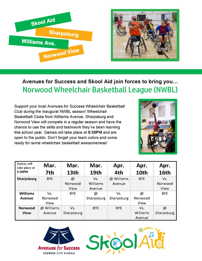 Avenues for Success and Skool Aid join forces to bring you Norwood Wheelchair Basketball League (NWB