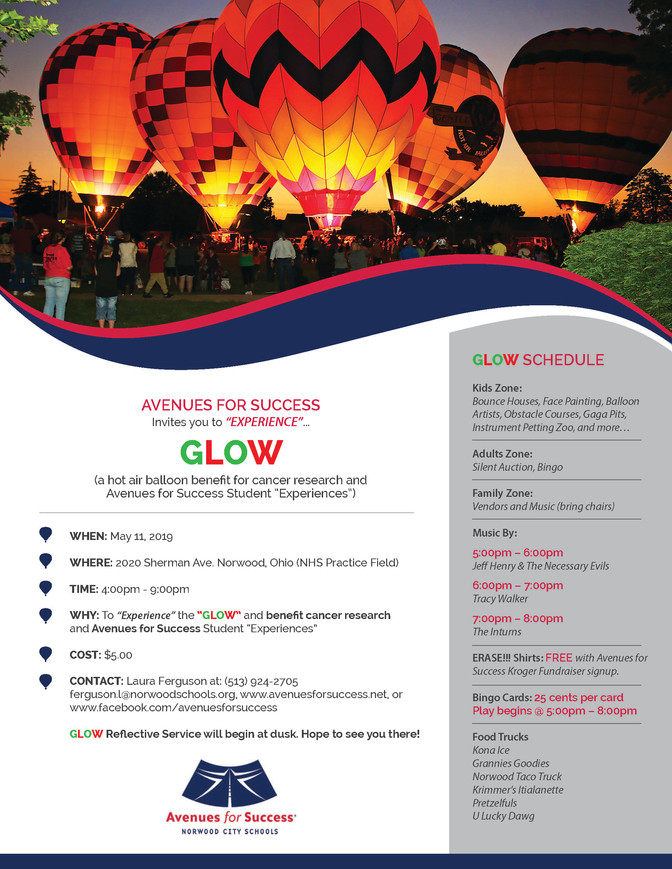 Avenues for Success® GLOW Event Schedule