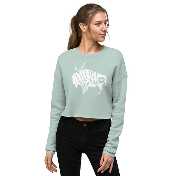 White Electric Buffalo Records Crop Sweatshirt (multiple colors available)