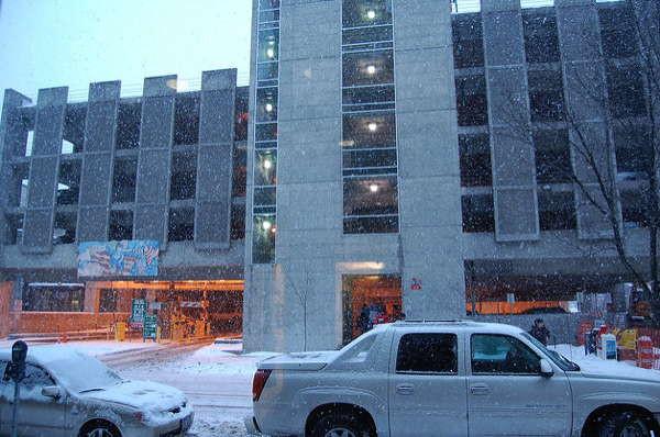 Wintry Ithaca parking garage.