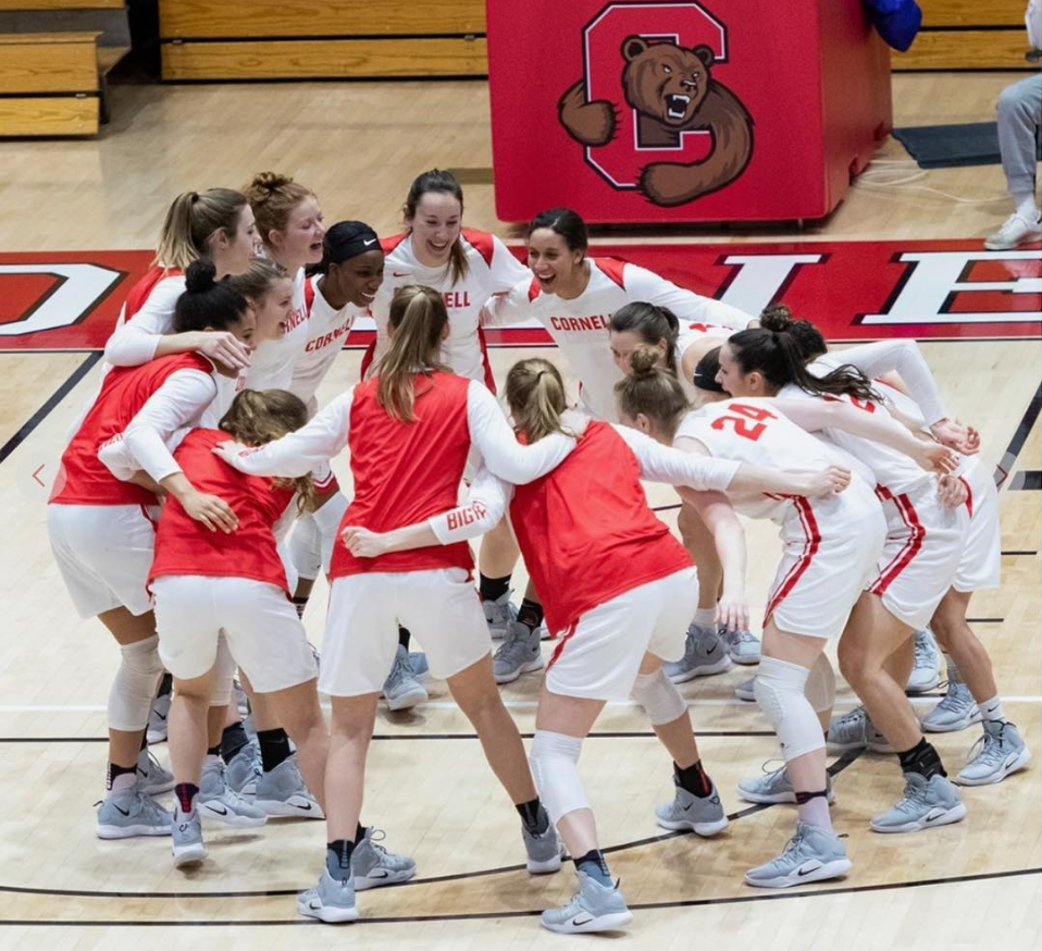 The Cornell Women's Basketball 2018-2019 team celebrates Cornell Giving Day on Instagram (@cornellwbb).