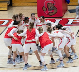 The Cornell Women's Basketball 2018-2019 team celebrates Cornell Giving Day on Instagram (@cornellwbb).