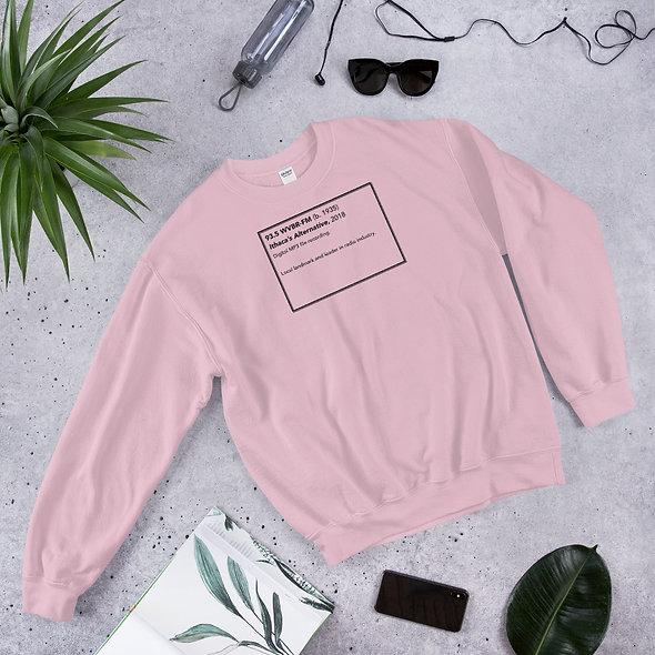 WVBR Plaque Unisex Sweatshirt w/ Black Logo on Back (multiple colors available)