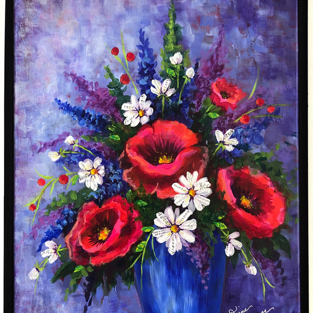 Blue vase Poppies