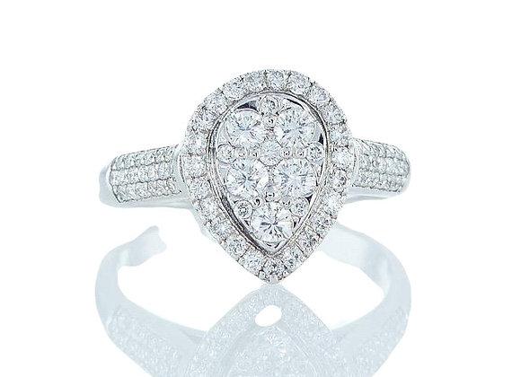 טבעת יהלומים טיפה