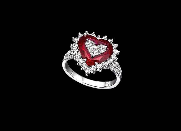 טבעת יהלומים לב אדום