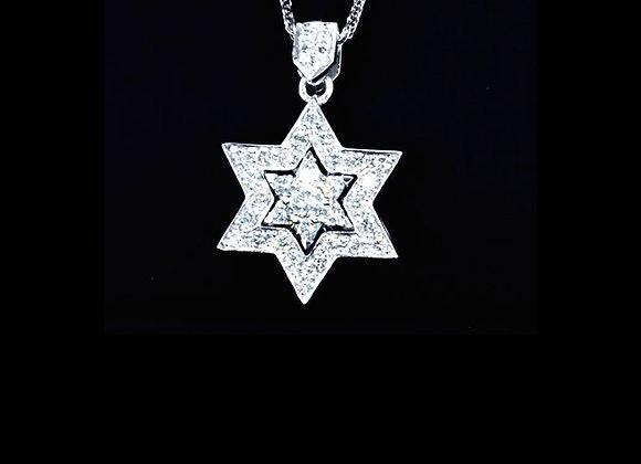 שרשרת יהלומים מגן דוד WHITE GOLD