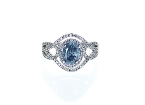 טבעת יהלומים ואבן יהלום כחולה  Ocean
