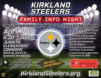 Kirkland Steelers Info Night Flyer