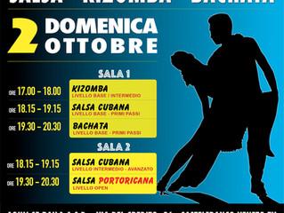 LEZIONI GRATUITE di SALSA CUBANA/PORTORICANA, BACHATA e KIZOMBA! Domenica 2 Ottobre!