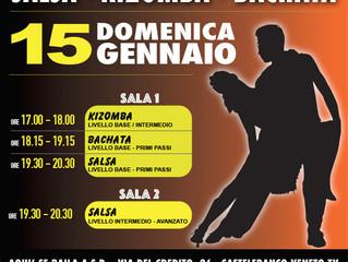 LEZIONI GRATUITE di SALSA CUBANA, BACHATA e KIZOMBA! Domenica 15 Gennaio!