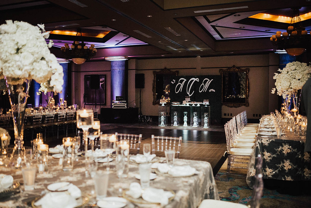 Grand bohemian orlando wedding black white greenery wall monogram orchid hydrangea centerpiece large