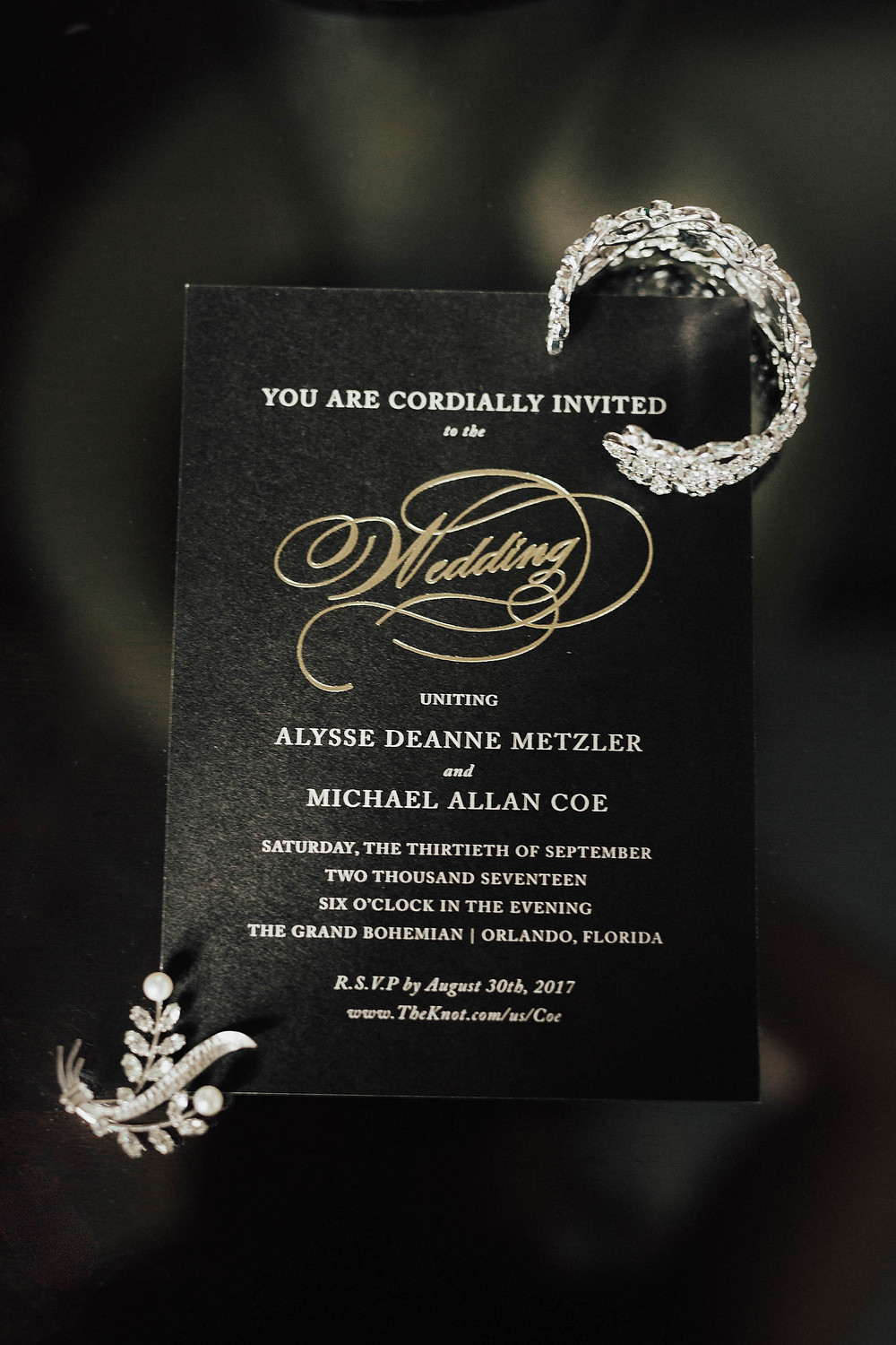 black wedding invitations wedding jewelry