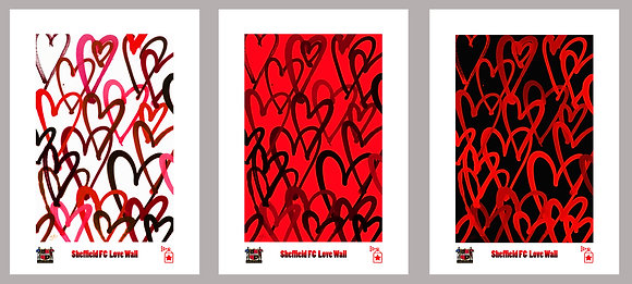 Sheffield FC Lovewall: White, Red & Black Collection (A3) Limited Edition Prints