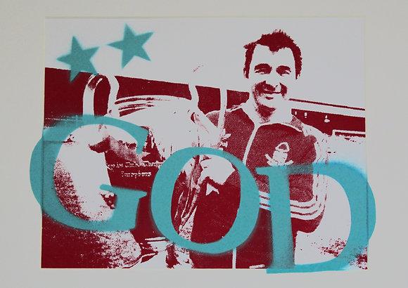 B.C. ... GOD (Aqua) Hand Sprayed / Screen Print