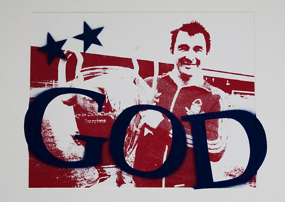 B.C. ... GOD (Navy) Hand Sprayed / Screen Print