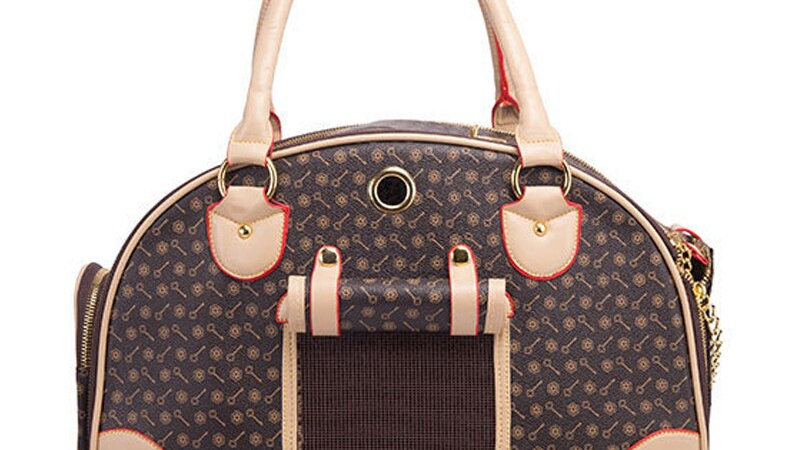 Luxury Looking Duffle Dog Carrier Travel Bag (Brown)