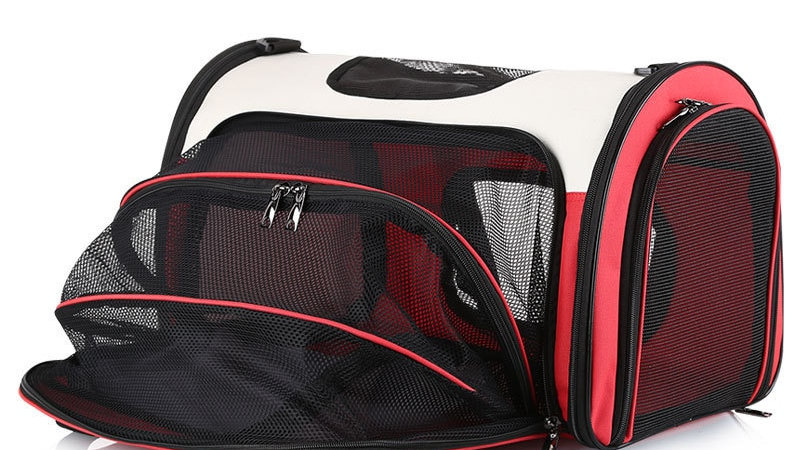 Dog Carrier with Expandable Fleece Pad (Red)
