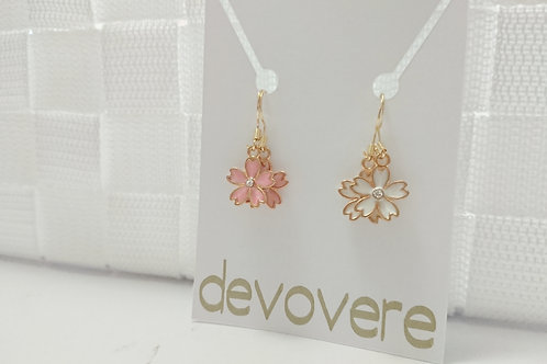Mix and Match Cherry Blossom Earrings (White and Pink)