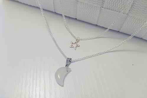 Rose Quartz Night Sky Double Necklace