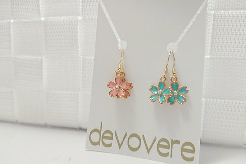 Mix and Match Cherry Blossom Earrings (Pink and Blue)