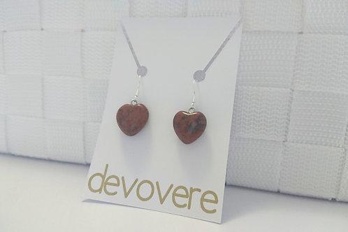 Mahogony Obsidian Heart Earrings