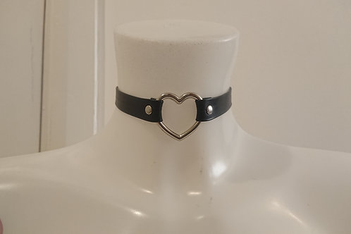 Faux Leather Heart Collar