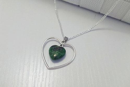 Ruby in Ziosite Heart Necklace