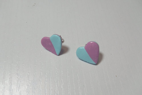 Lilac and Blue Heart Earrings