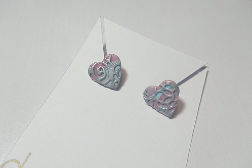 Marbled Blooms Earrings (Pink and Blue)