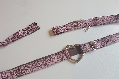 Ella/Ava Garter Set - Brown Damask
